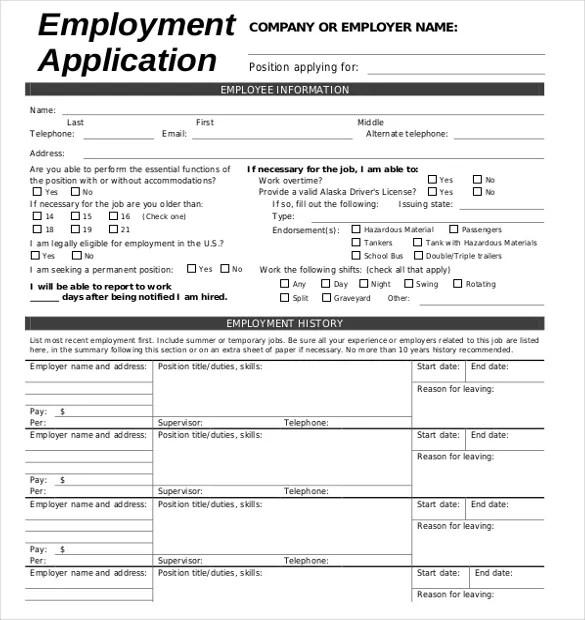 Employment Application Template Word Document | Resume Examples