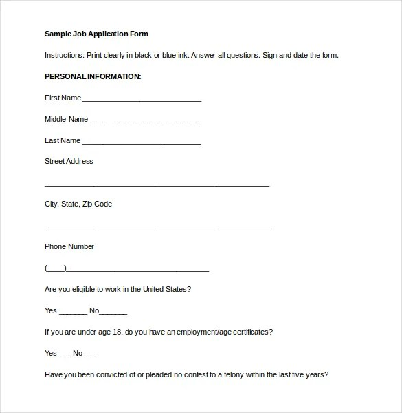 Sample Employment Application Word Format – Generic Application for Employment