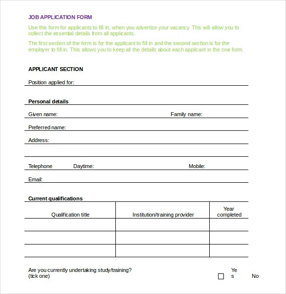 Employment Application Templates \u2013 10+ Free Word, PDF Documents - employment application word template