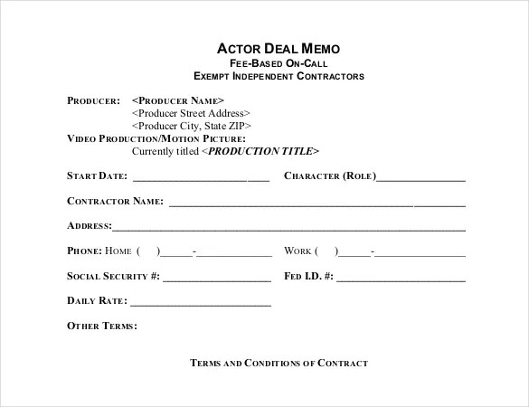 15+ Deal Memo Templates \u2013 Free Sample, Example, Format Download