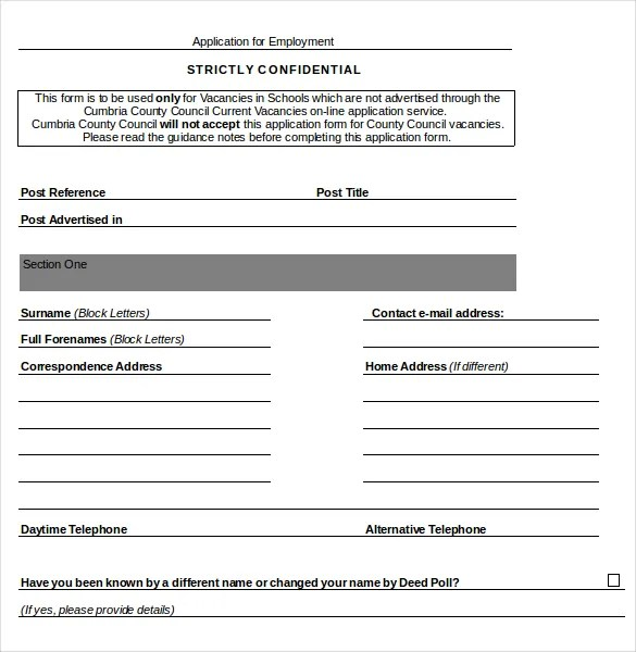 free employment application template word - Minimfagency - employment application word template