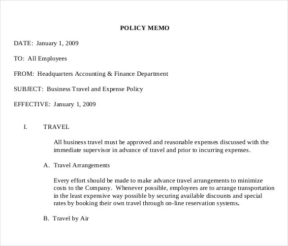 sample policy memo – Decision Memo Template