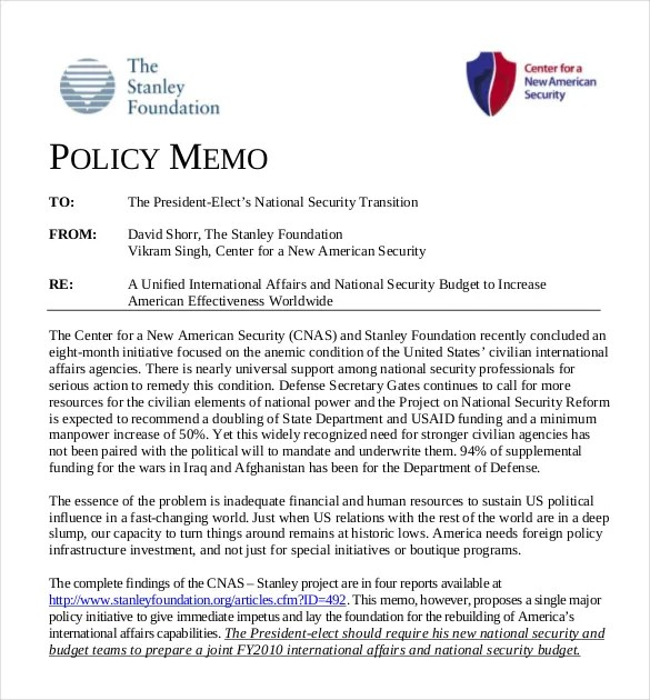 15+ Policy Memo Templates \u2013 Free Sample, Example, Format Download - policy memo template