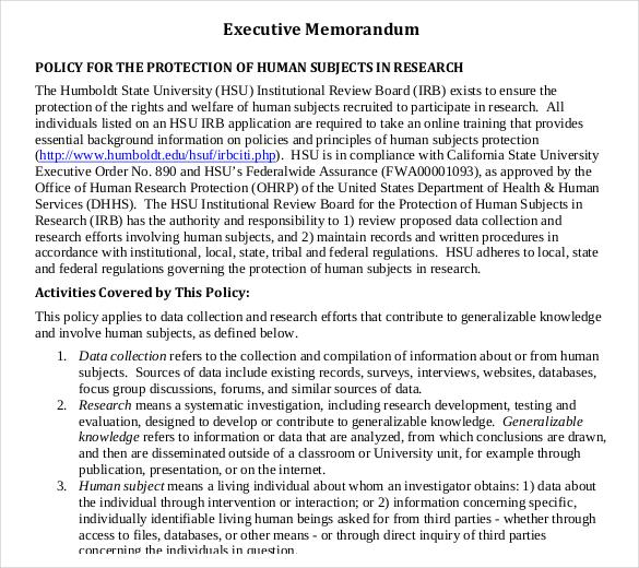 12+ Executive Memo Templates \u2013 Sample Word, Google Docs Format