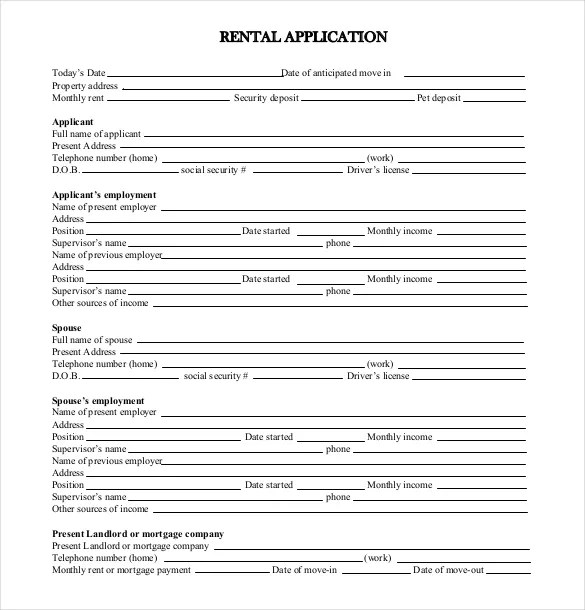 Rental Application Template \u2013 10+ Free Word, PDF Documents Download - rental application form in word