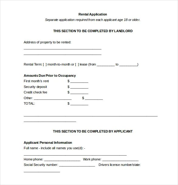 13+ Rental Application Templates \u2013 Free Sample, Example, Format