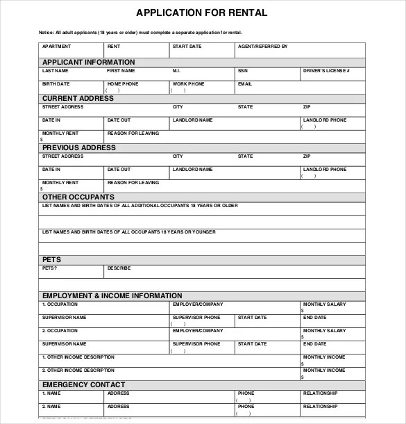 tenant application form template - Ozilalmanoof - tenant application form