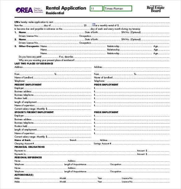 sample rental application - Ozilalmanoof