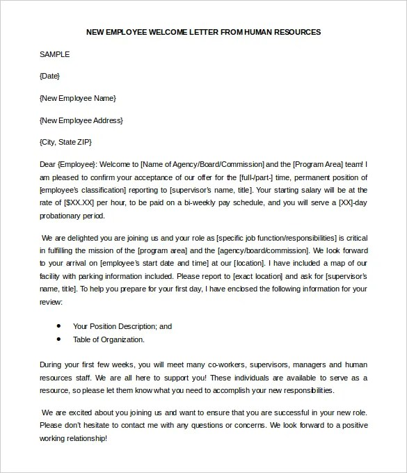 23+ HR Welcome Letter Template - Free Sample, Example Format Free - welcoming messages for new employees