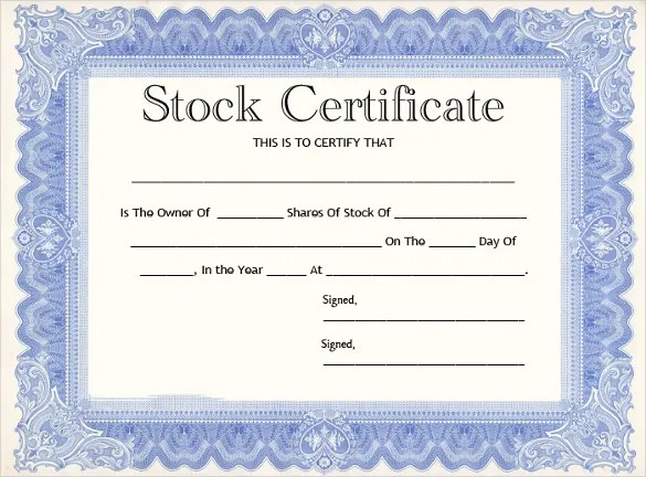 21+ Stock Certificate Templates - Word, PSD, AI, Publisher Free