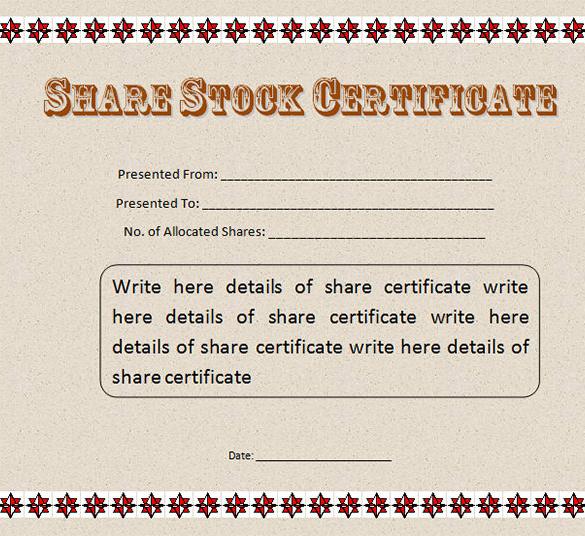 stock certificate sample - Josemulinohouse