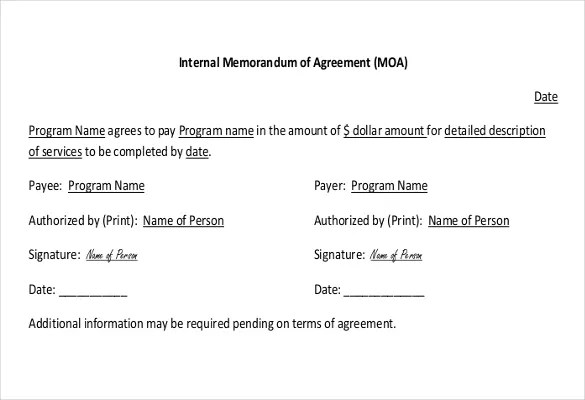 sample memorandum of agreements | hitecauto.us