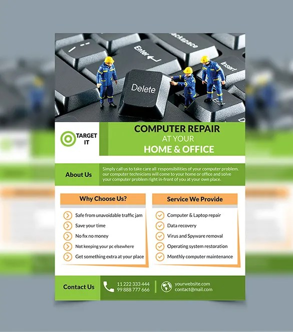 Computer Repair Flyer Templates \u2013 24+ Free PSD, AI Format Download - computer repair flyer template