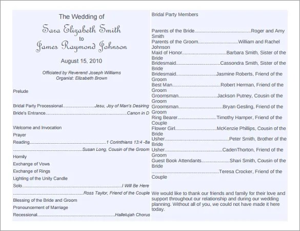 8+ Word Wedding Program Templates Free Download Free  Premium
