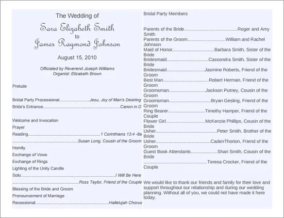 word wedding program template - Towerssconstruction