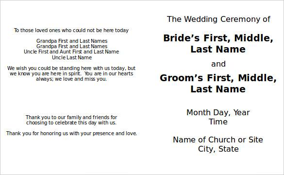 8+ Word Wedding Program Templates Free Download Free  Premium
