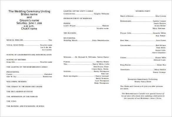 8+ Word Wedding Program Templates Free Download Free  Premium - program templates word