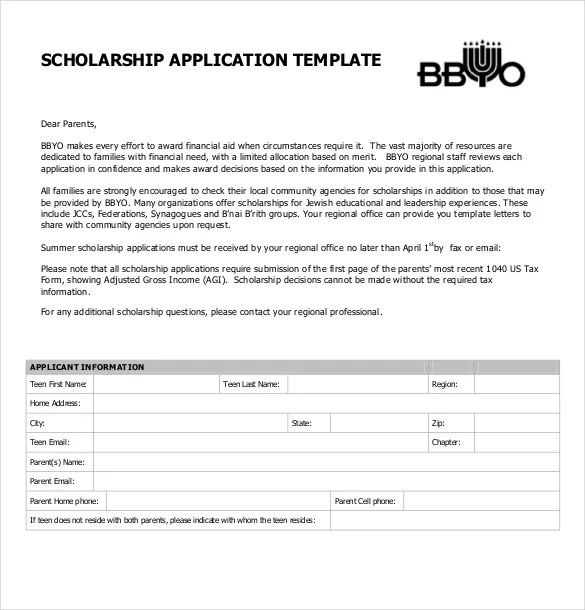 Scholarship Application Template \u2013 10+ Free Word, PDF Documents