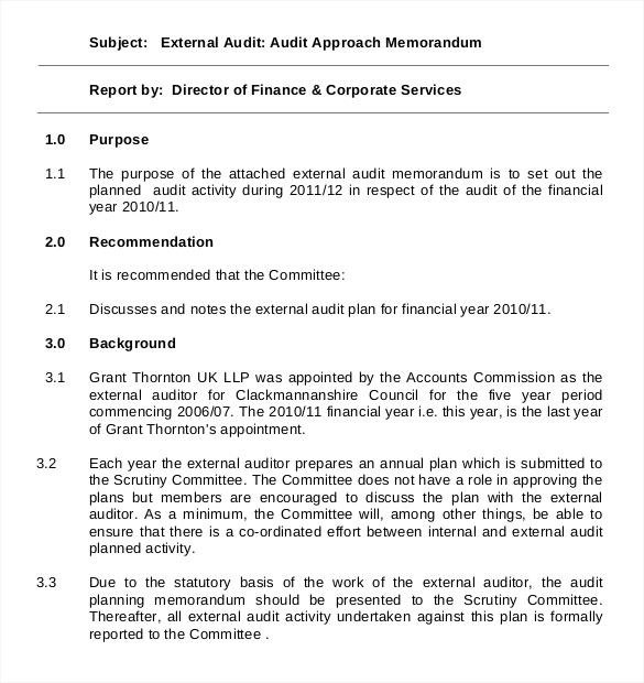 10+ Audit Memo Templates u2013 Free Sample, Example, Format Download - audit plan template