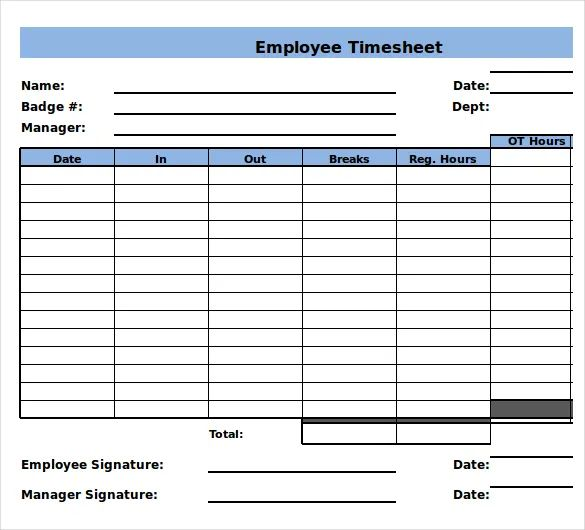 multiple employee weekly timesheet template