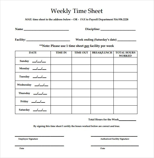 printable timesheet weekly - Onwebioinnovate