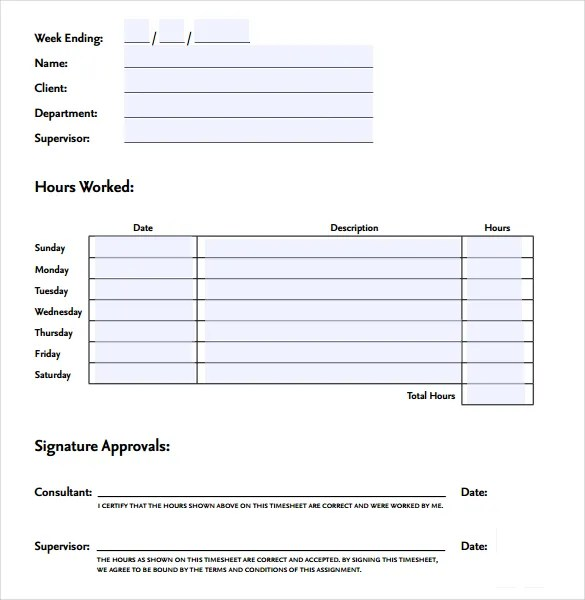 21+ Weekly Timesheet Templates \u2013 Free Sample, Example Format