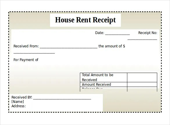 House Rent Receipt Format India – House Rent Slip Format