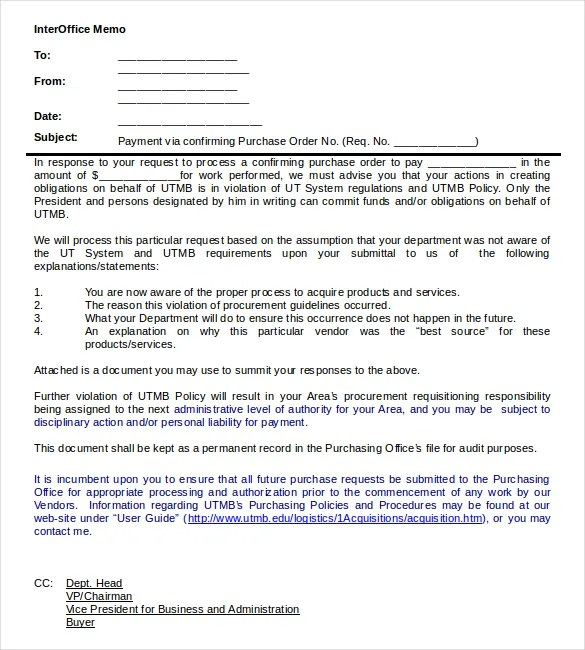 Interoffice Memo Templates - 28+ Free Sample, Example, Format Free