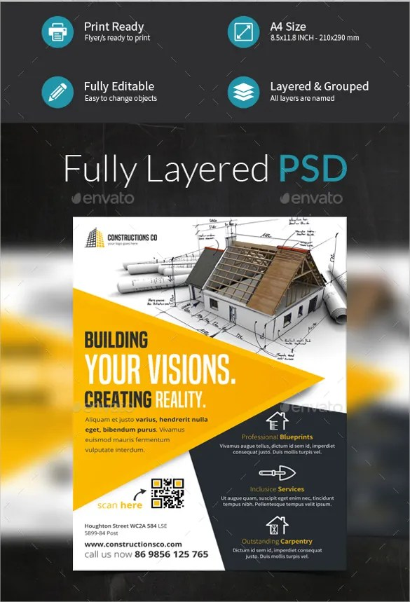 25+ Construction Company Flyer Templates - PSD, Ai, InDesign Free