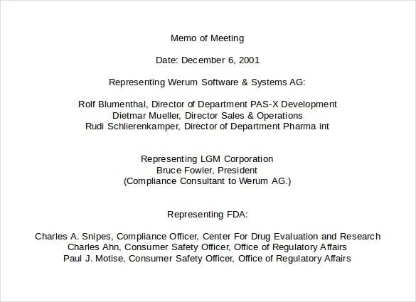 Sample Memo To Board Of Directors 100 Meeting Memo Templates Free