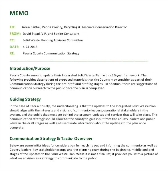 sample strategy memo - Goalgoodwinmetals - memo layout examples