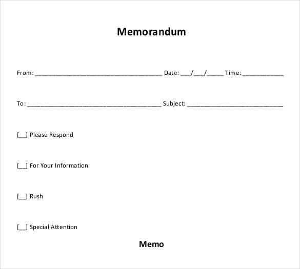 10+ Blank Memo Templates \u2013 Free Sample, Example, Format Download