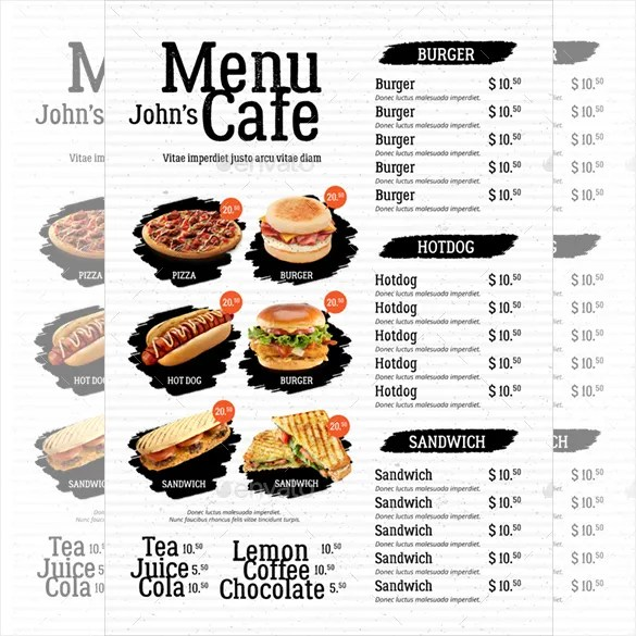Cafe Menu Template - 39+ Free Word, PDF, PSD, EPS, InDesign Format - sample drink menu template