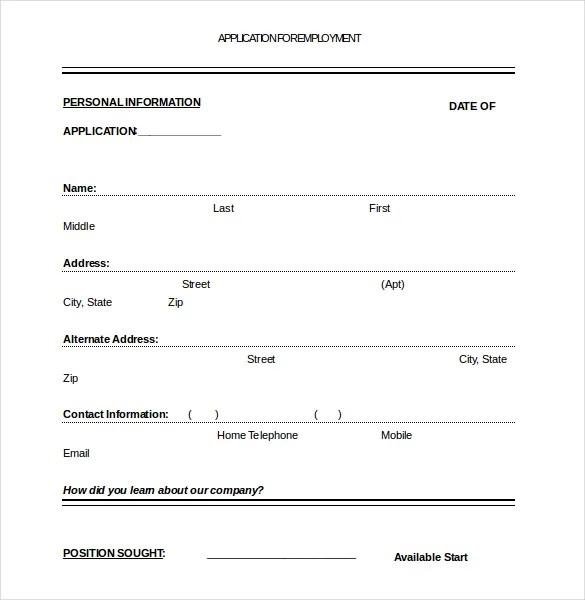 Application Form Templates \u2013 10+ Free Word, PDF Documents Download
