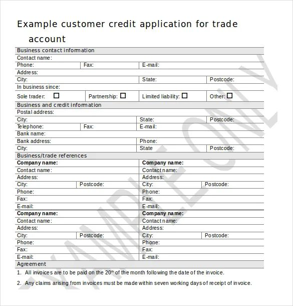 credit application template word