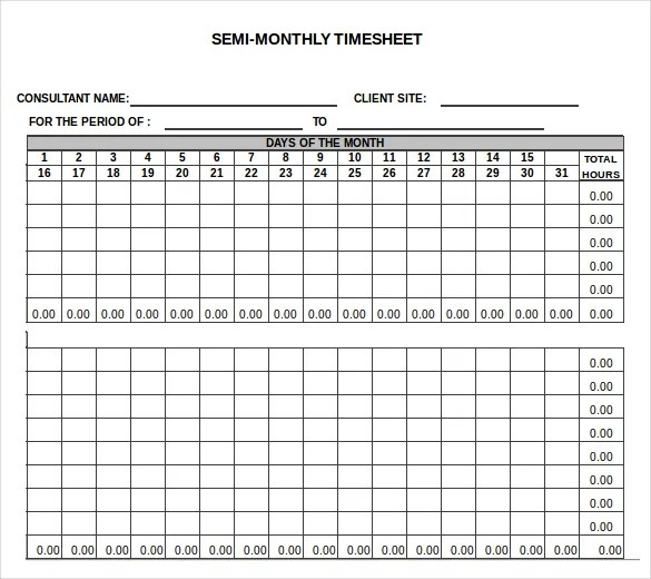 23+ Monthly Timesheet Templates - Free Sample, Example Format