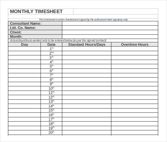 Free Weekly Timesheet Template Time Clock Mts 13 Monthly Timesheet Templates – Free Sample Example