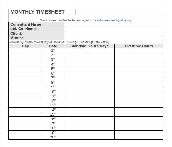 timesheet template monthly - Bendicharlasmotivacionales