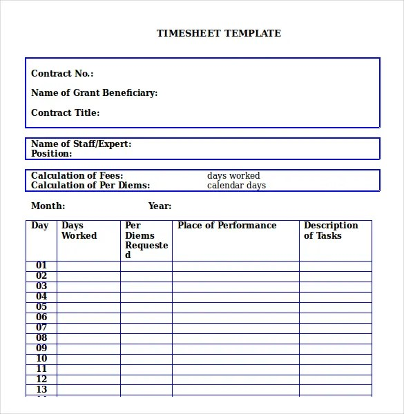 21+ Monthly Timesheet Templates - Free Sample, Example Format