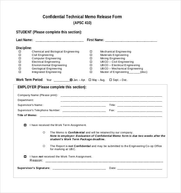 8+ Confidential Memo Templates \u2013 Free Sample, Example, Format - confidential form template