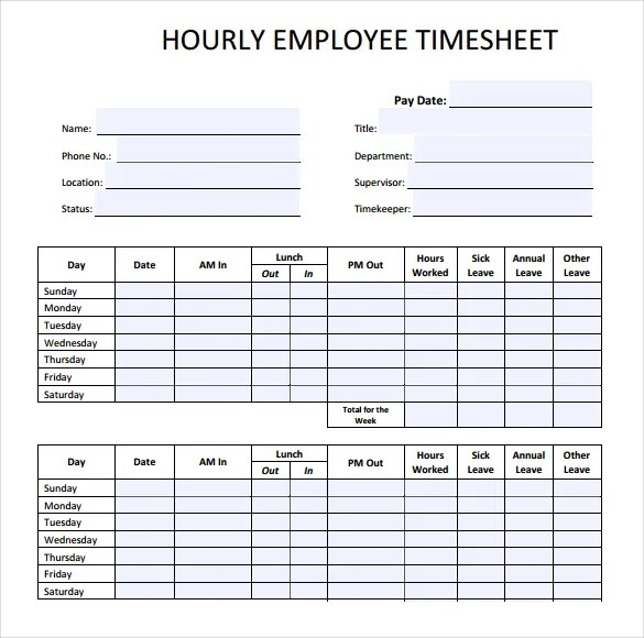 22+ Employee Timesheet Templates \u2013 Free Sample, Example Format - sample timesheet for hourly employees