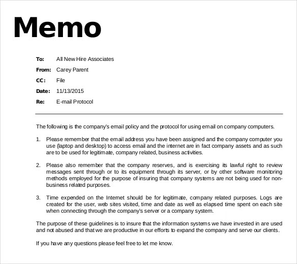 14+ Email Memo Templates \u2013 Free Sample, Example, Format Download - sample email memo template