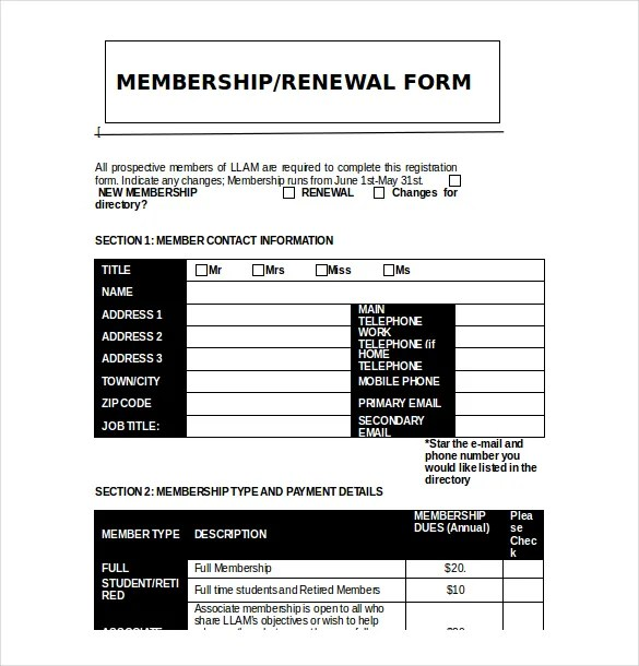 Free Membership Application Form Template Word – Application Form Template Free