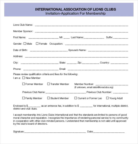 Membership Application Template \u2013 12+ Free Word, PDF Documents