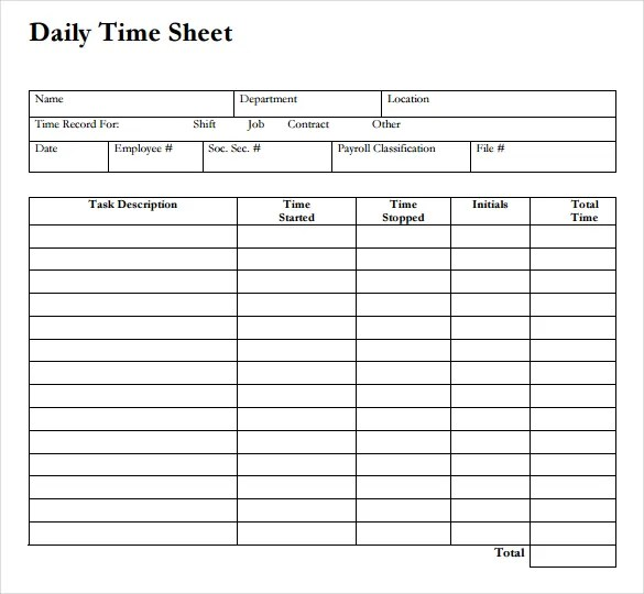 20+ Daily Timesheet Templates - Free Sample, Example Format Download