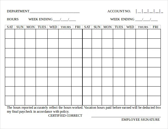 Bi Weekly Timesheet Template For Word Business Formal Letter Samples