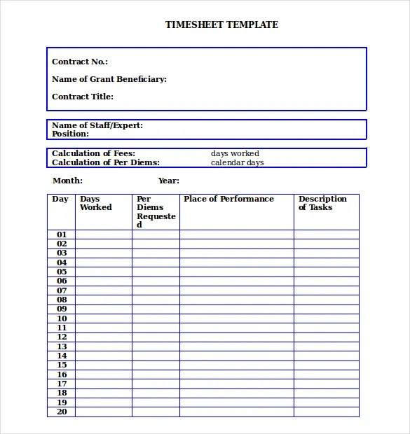 26+ Blank Timesheet Templates \u2013 Free Sample, Example Format Download