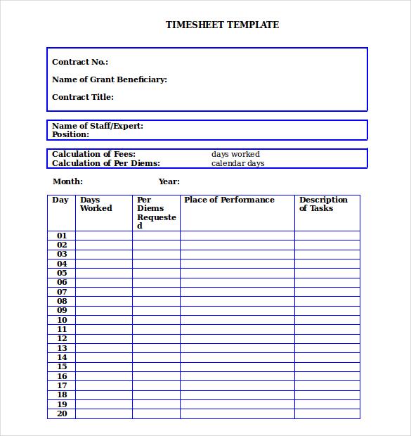 26+ Blank Timesheet Templates \u2013 Free Sample, Example Format Download