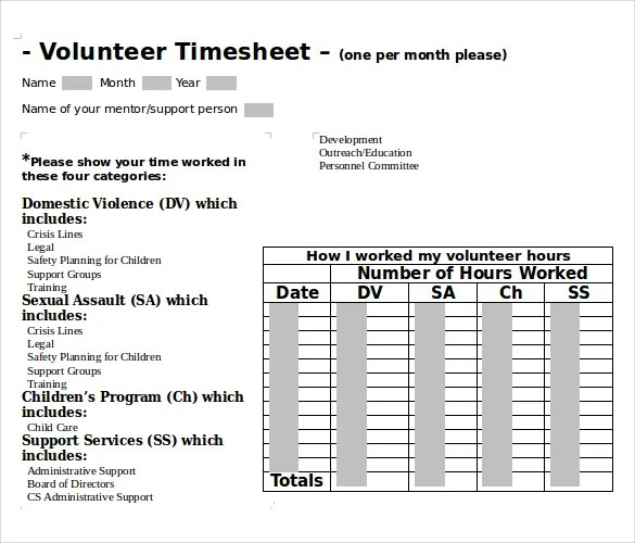 Sample Volunteer Timesheet Free Printable Daily Time Sheet Free