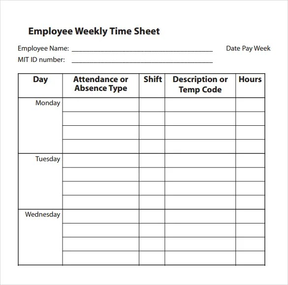 31+ Simple Timesheet Templates - DOC, PDF Free  Premium Templates